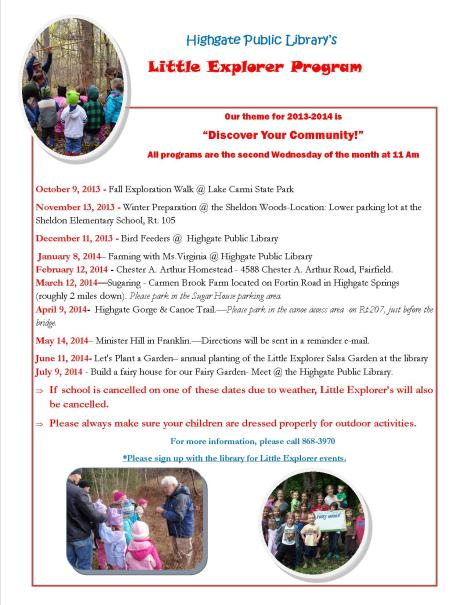 little explorer program schedule2013-14