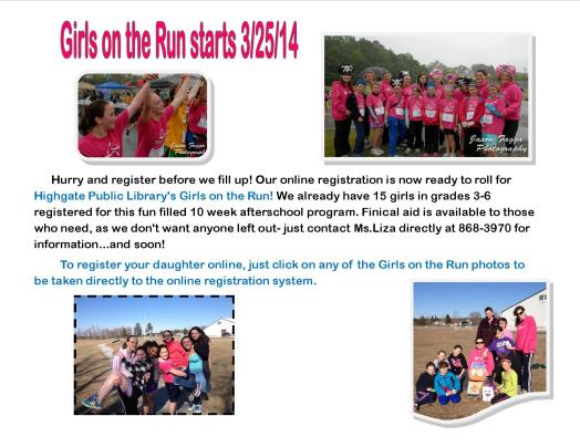 Click on any of the photos above to be taken to the Girls on the Run Vermont online registration site.