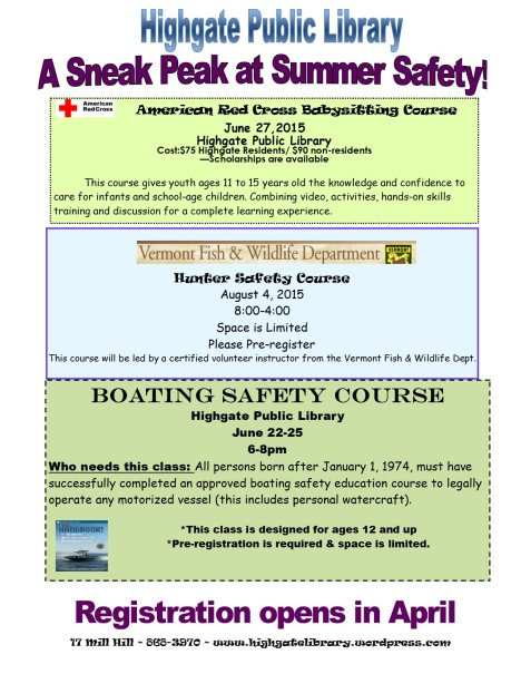 Our Summer Safety Course registration is now open.